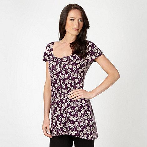 Mantaray - Purple striped back floral tunic