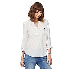 Mantaray - White printed notch neck shirt
