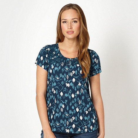 Mantaray - Dark turquoise woven leaf top