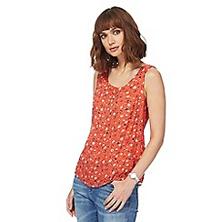Mantaray - Orange flower print shell top