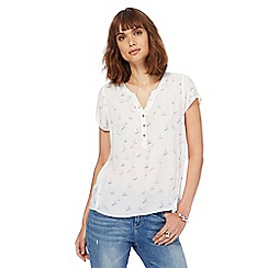Mantaray - White bird print notch neck top
