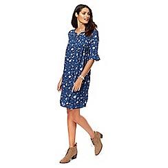 Mantaray - Navy floral print knee length tunic dress