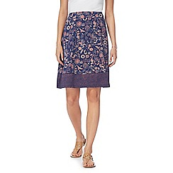 Mantaray - Navy water-scene print skirt