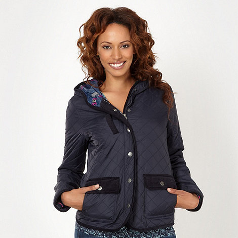 Mantaray - Navy quilted hooded jacket