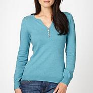 Light turquoise pointelle shoulder jumper