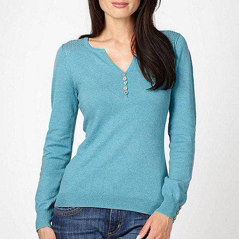 Mantaray - Light turquoise pointelle shoulder jumper