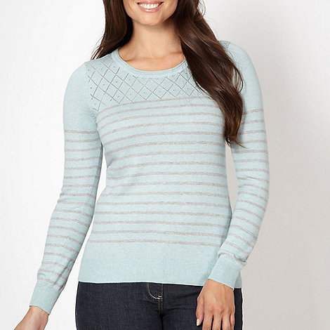 Mantaray - Pale blue striped pointelle jumper