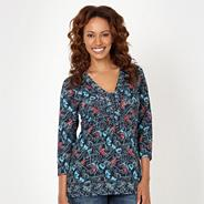 Navy abstract floral top
