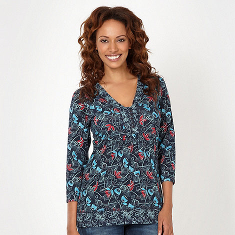 Mantaray - Navy abstract floral top