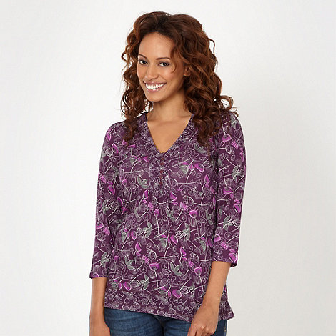 Mantaray - Dark purple abstract floral top