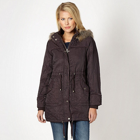 Mantaray - Dark purple metallic fleece parka coat