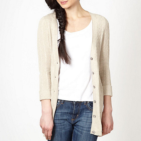 Mantaray - Natural ribbed and cable knit cardigan