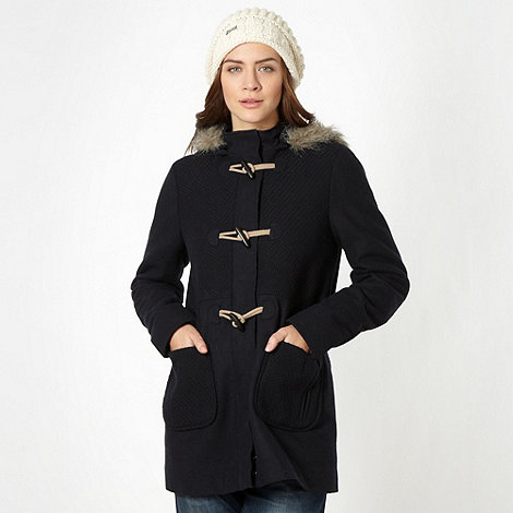 Mantaray - Navy mixed fabric duffle coat