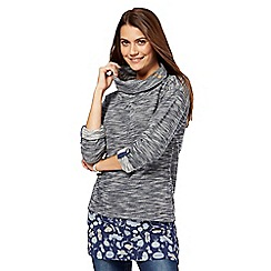 Mantaray - Navy printed mock tunic top