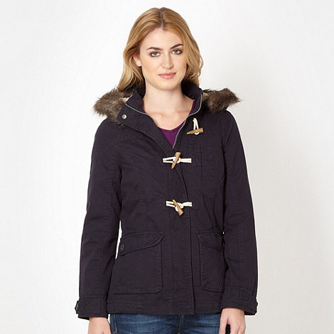 Mantaray - Navy borg hood parka jacket