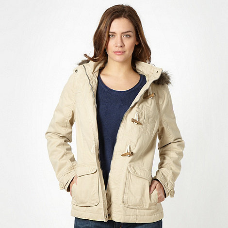 Mantaray - Natural borg hood parka duffle jacket