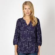 Dark purple dotted bird shirt