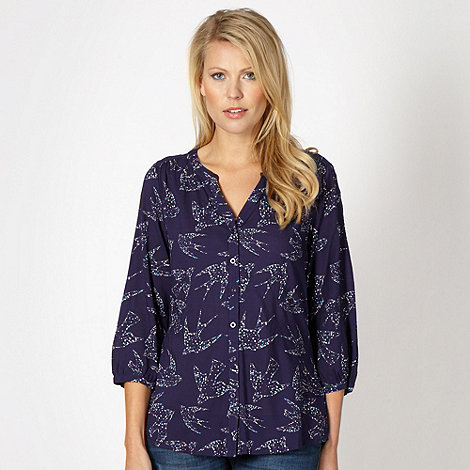 Mantaray - Dark purple dotted bird shirt