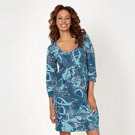 Mantaray - Turquoise floral jersey dress