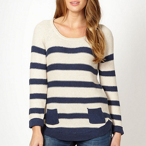 Mantaray - Cream striped two pocket jumper