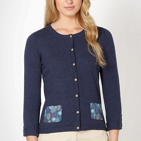Mantaray - Navy leaf print pocket cardigan