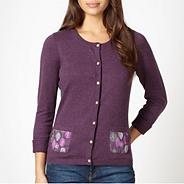 Purple floral pocket cardigan