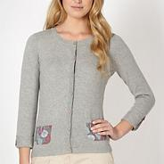 Grey leaf print pocket cardigan
