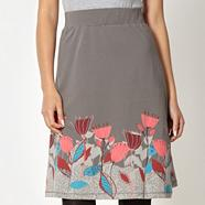 Grey floral border jersey skirt