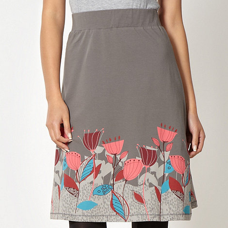Mantaray - Grey floral border jersey skirt