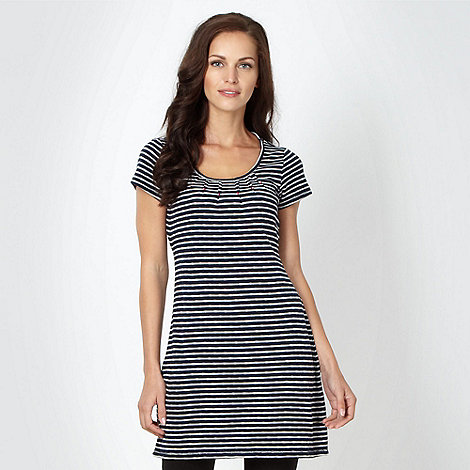 Mantaray - Navy woven striped tie back tunic