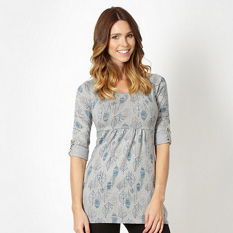 Mantaray - Grey autumn leaf knit tunic