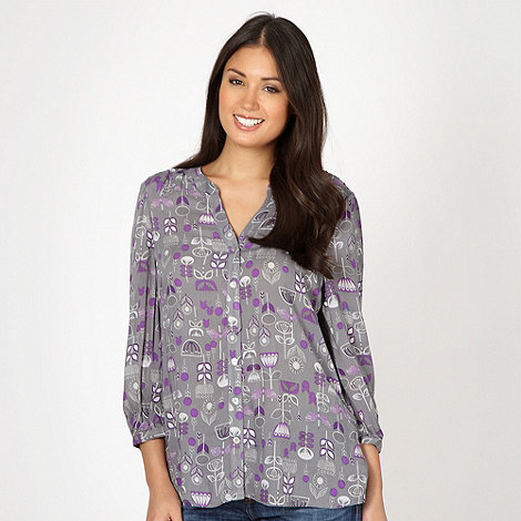 Mantaray - Grey floral tile print shirt