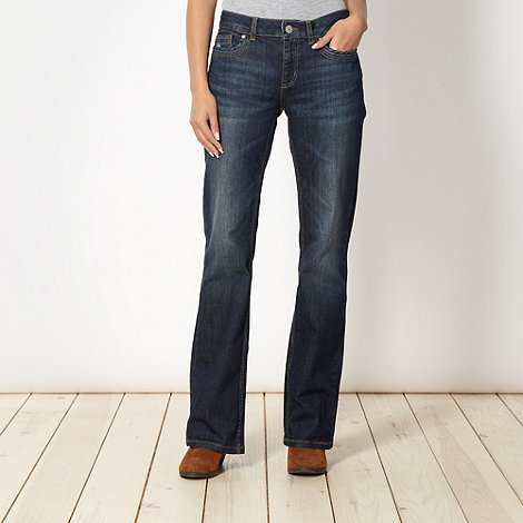 Mantaray - Dark blue washed bootcut jeans