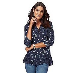 Mantaray - Navy blue tulip print 3/4 sleeves top