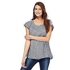Mantaray - Navy and white gingham embroidered shoulder smock top