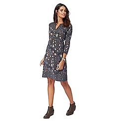 Mantaray - Dark grey floral print Y-neck tunic dress