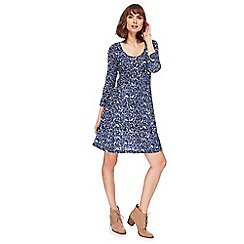 Mantaray - Navy forest animal print skater dress
