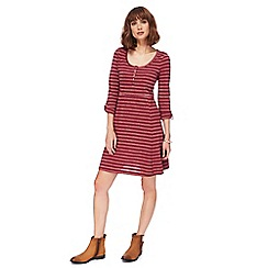 Mantaray - Dark pink striped skater dress