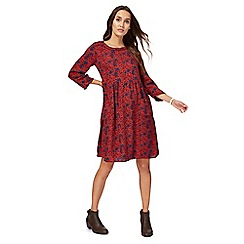 Mantaray - Plum maple leaf print knee length tunic dress