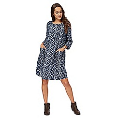 Mantaray - Navy bird leaf print knee length tunic dress