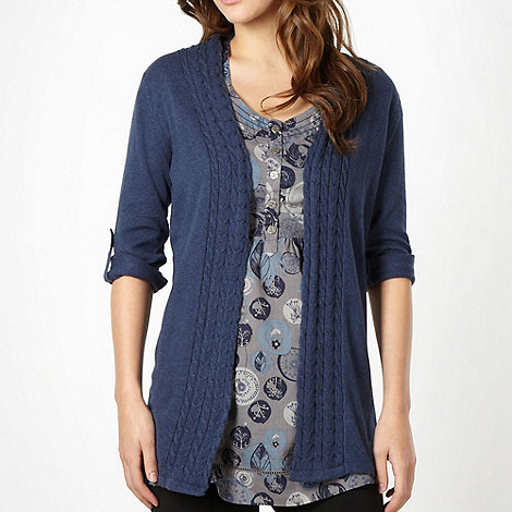 Mantaray - Navy three quarter sleeve cardigan