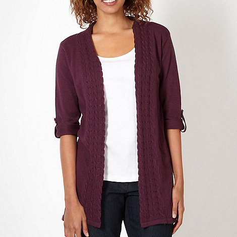 Mantaray - Purple cable trim edge to edge cardigan