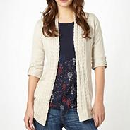 Stone three quarter sleeve cardigan