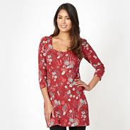 Dark red floral jersey tunic