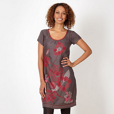 Mantaray - Dark grey embroidered floral tunic dress