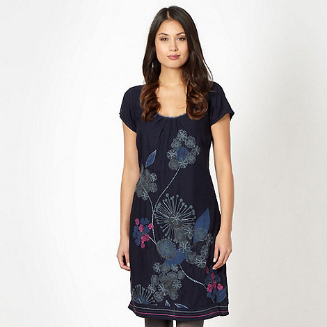 Mantaray - Navy applique floral dress