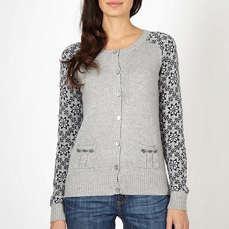 Mantaray - Grey snowflake sleeve cardigan
