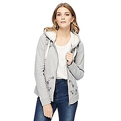 Mantaray - Grey floral embroidered zip through hoodie