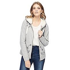 Mantaray - Grey floral embroidered zip through hoodie
