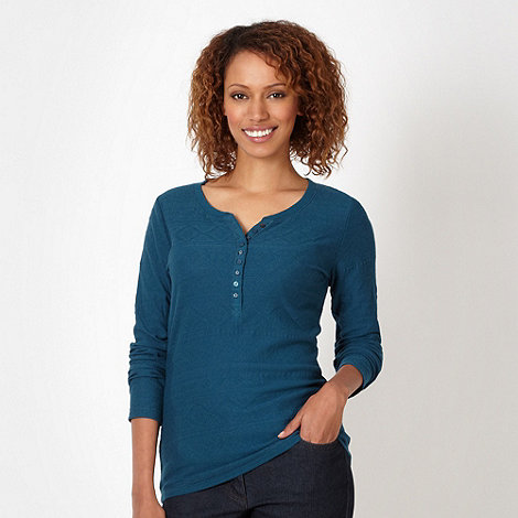 Mantaray - Dark turquoise jacquard aztec top